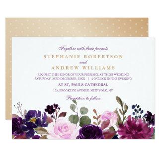 Watercolor Purple Plum Floral Rustic Boho Card