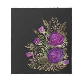Watercolor Purple roses Notepad