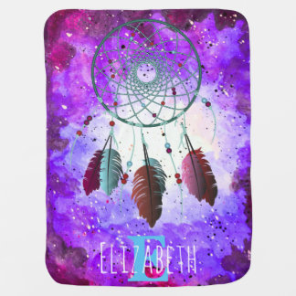 Watercolor Purple Space Nebula Dream Catcher Receiving Blankets