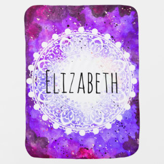 Watercolor Purple Space Nebula White Mandala Baby Blanket