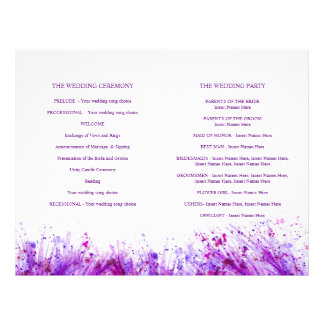 Watercolor purple splash wreath wedding programme
