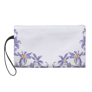 Watercolor Purple Spring Flowers Wristlet Purses