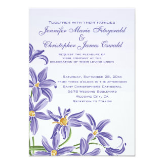 Watercolor Purple Spring Flowers Wedding Card