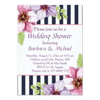 Watercolor purple violet flowers Wedding Shower 11 Cm X 16 Cm Invitation Card