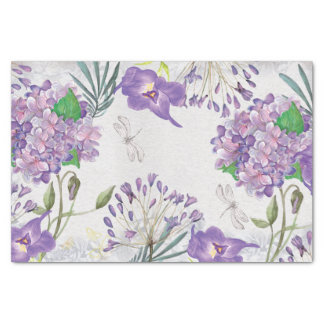 Watercolor Purple Violets Hydrangeas Greenery Tissue Paper
