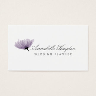 watercolor purple wedding planner business cards