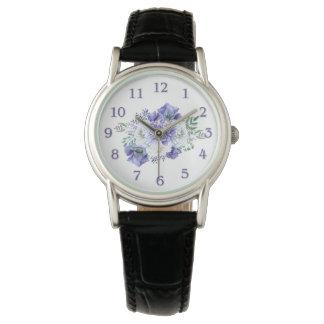 Watercolor Purple White Anemones Peonies Watch