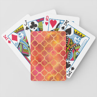 Watercolor Quatrefoil Bicycle Playing Cards