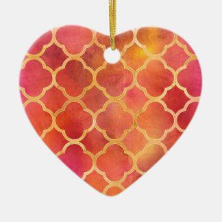 Watercolor Quatrefoil Ceramic Heart Decoration