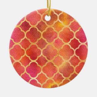 Watercolor Quatrefoil Ceramic Ornament