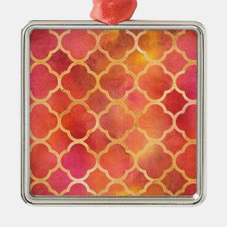 Watercolor Quatrefoil Metal Ornament