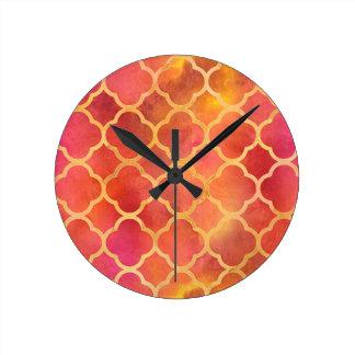 Watercolor Quatrefoil Round Clock