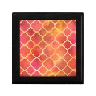 Watercolor Quatrefoil Small Square Gift Box