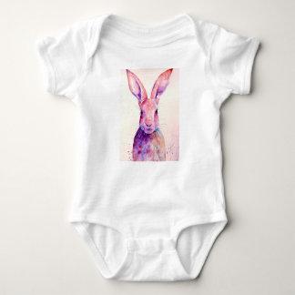 Watercolor Rabbit Hare Portrait Baby Bodysuit