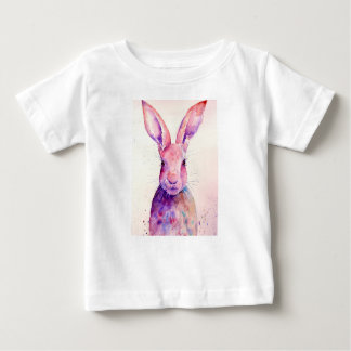 Watercolor Rabbit Hare Portrait Baby T-Shirt