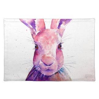 Watercolor Rabbit Hare Portrait Placemat