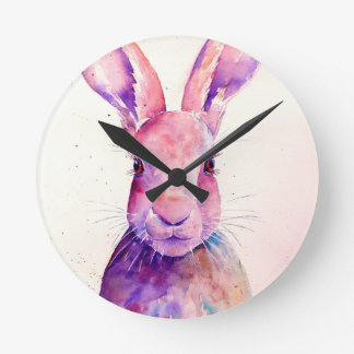 Watercolor Rabbit Hare Portrait Round Clock