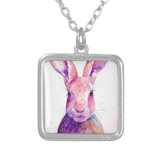 Watercolor Rabbit Hare Portrait Silver Plated Necklace