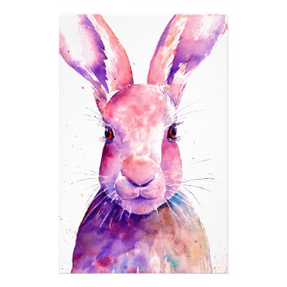 Watercolor Rabbit Hare Portrait Stationery