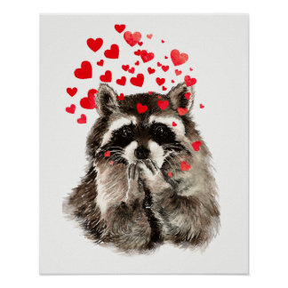 Watercolor Raccoon Blowing Kisses Fun Animal art Poster