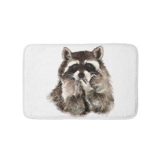 Watercolor Raccoon Blowing Kisses Funny art Bath Mat