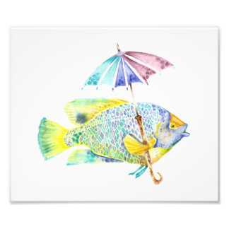 Watercolor Rainbow Angel Fish Photo Art Print