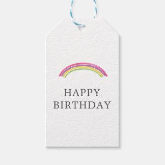 Watercolor Rainbow Birthday Present Gift Tag