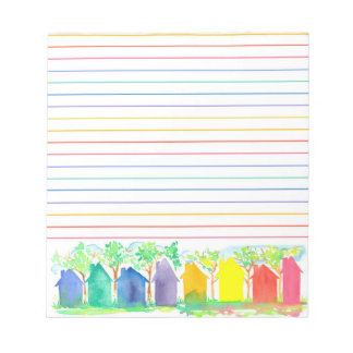 Watercolor Rainbow Cottage Houses Lined Notepad