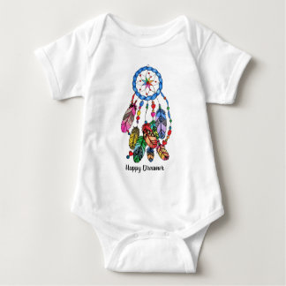 Watercolor rainbow dream catcher & inspiring words baby bodysuit