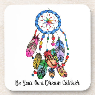 Watercolor rainbow dream catcher & inspiring words coaster