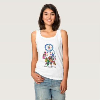 Watercolor rainbow dream catcher & inspiring words singlet