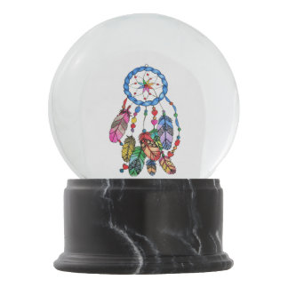 Watercolor rainbow dream catcher & inspiring words snow globe