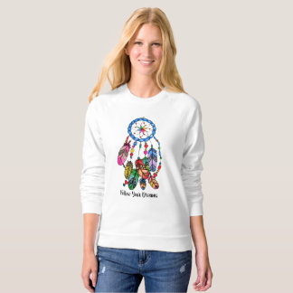 Watercolor rainbow dream catcher & inspiring words sweatshirt