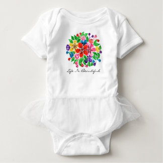 Watercolor Rainbow Flowers Baby Bodysuit