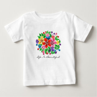 Watercolor Rainbow Flowers Baby T-Shirt