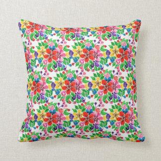 Watercolor Rainbow Flowers Cushion