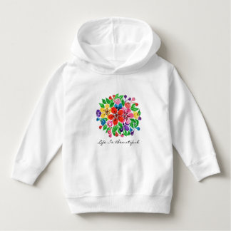 Watercolor Rainbow Flowers Hoodie