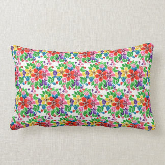 Watercolor Rainbow Flowers Lumbar Cushion