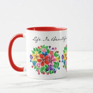 Watercolor Rainbow Flowers Mug
