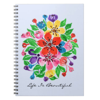 Watercolor Rainbow Flowers Notebook