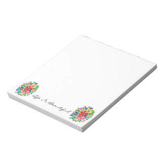 Watercolor Rainbow Flowers Notepad