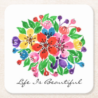 Watercolor Rainbow Flowers Square Paper Coaster