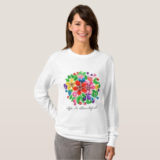 Watercolor Rainbow Flowers T-Shirt