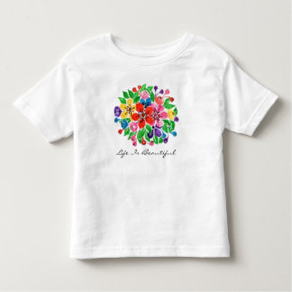 Watercolor Rainbow Flowers Toddler T-Shirt