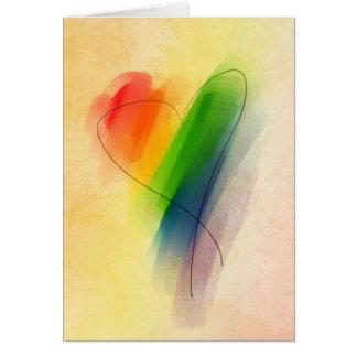 Watercolor Rainbow Heart Card