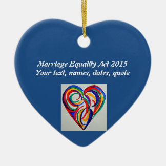 Watercolor rainbow heart, Marriage Equality Ceramic Ornament