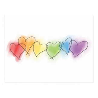 Watercolor Rainbow Hearts Postcard