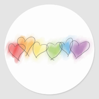 Watercolor Rainbow Hearts Round Stickers