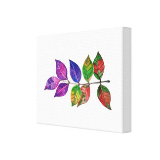 Watercolor Rainbow Leaves Canvas Print