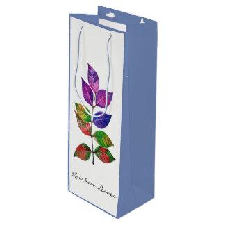 Watercolor Rainbow Leaves Wine Gift Bag